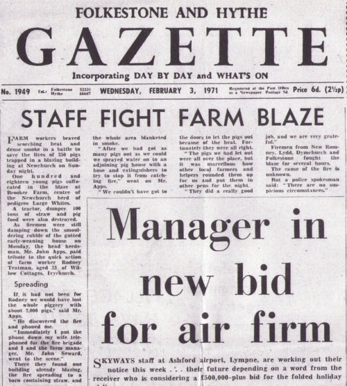 Gazette Fire Article from 1971