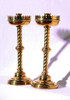 Brass candlesticks and alms dish. © D.Chiverrell